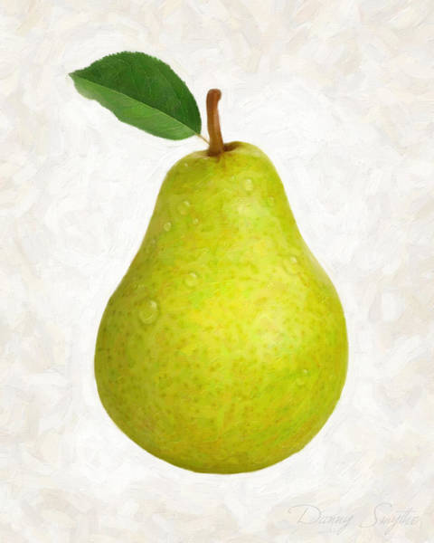 Wall Art - Painting - Green Pear Isolated by Danny Smythe