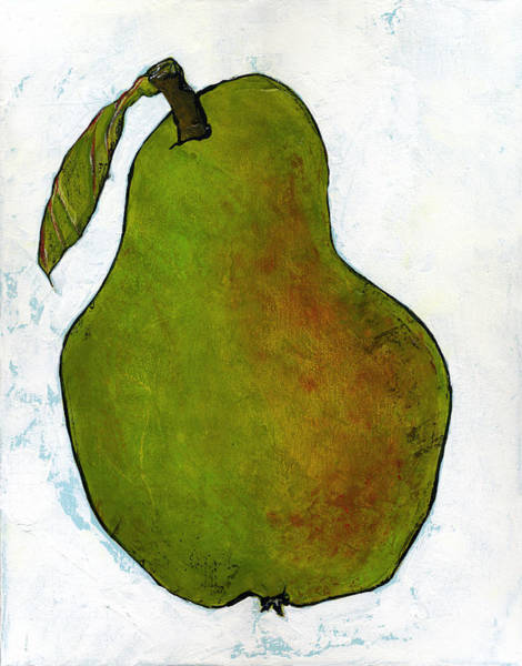 Wall Art - Painting - Green Pear On White by Blenda Studio