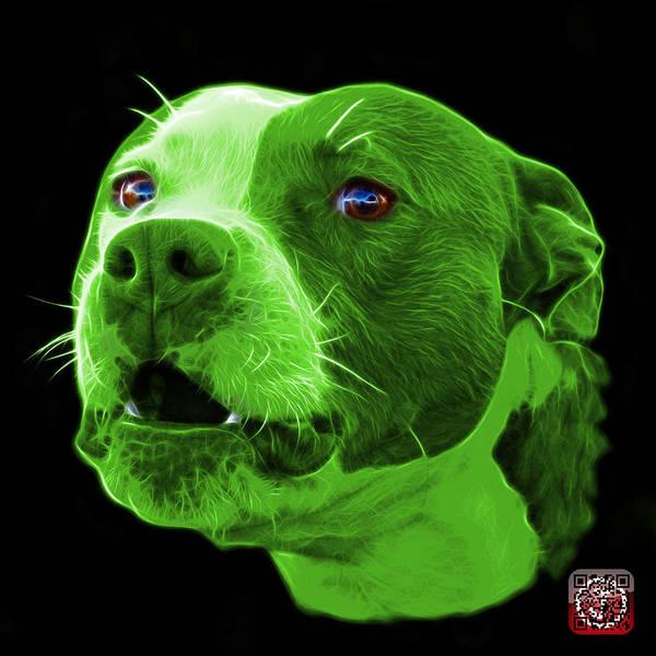 Mixed Media - Green Pitbull Dog 7769 - Bb - Fractal Dog Art by James Ahn