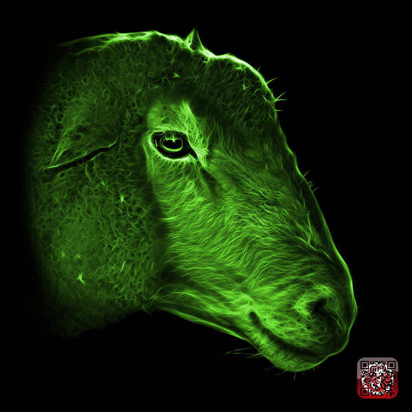Digital Art - Green Polled Dorset Sheep - 1643 F by James Ahn