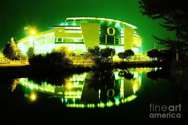 Photograph - Green Power- Autzen At Night by Michael Cross
