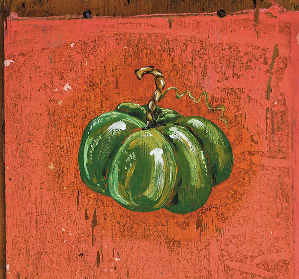 Wall Art - Painting - Green Pumpkin by Molly Susan Strong