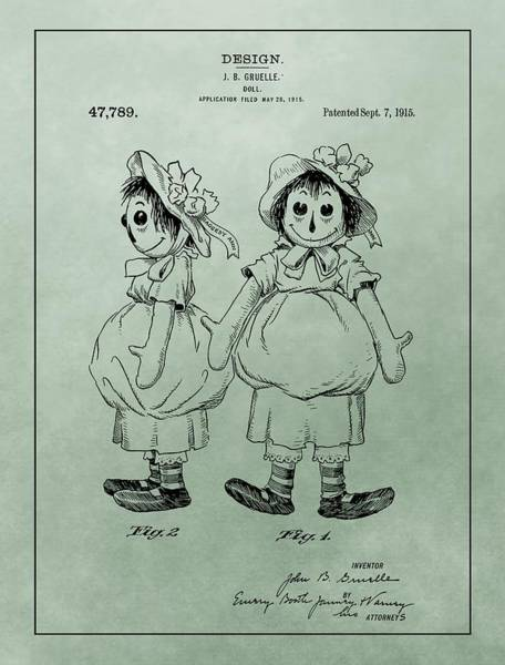 Toy Mixed Media - Green Raggedy Ann Patent by Dan Sproul