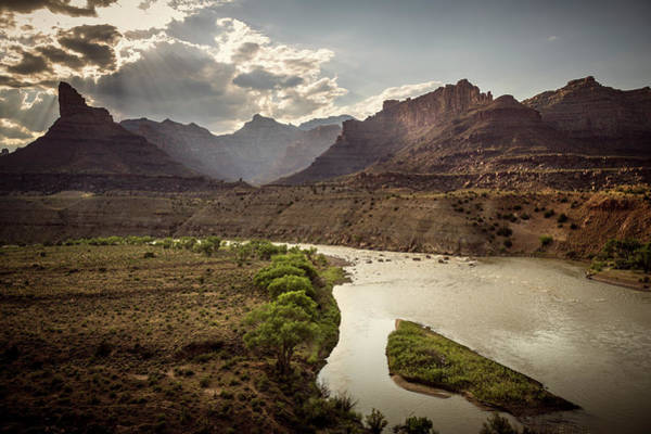 Desolation Photograph - Green River And Mountains, Utah, Usa by Whit Richardson