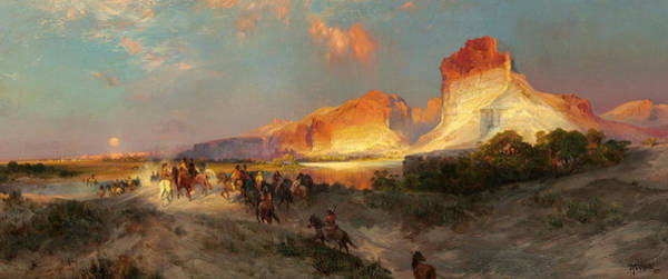 Sunlit Wall Art - Painting - Green River Cliffs Wyoming by Thomas Moran