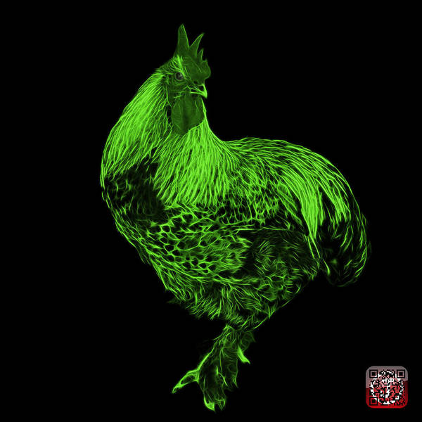 Painting - Green Rooster 3166 F by James Ahn
