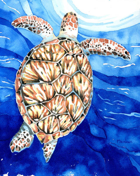 Painting - Green Sea Turtle Surfacing by Pauline Walsh Jacobson