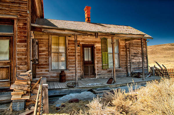 Bodie Ghost Town Wall Art - Photograph - Green Shutter by Cat Connor