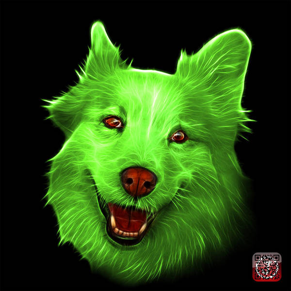Painting - Green Siberian Husky Mix Dog Pop Art - 5060 Bb by James Ahn