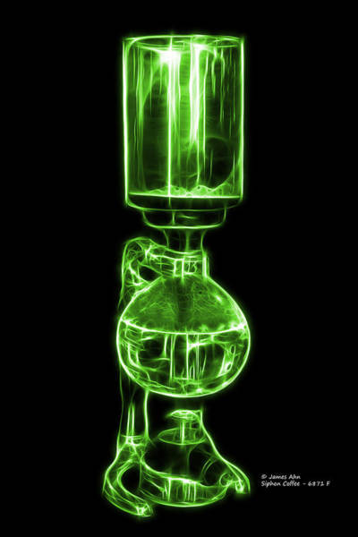 Digital Art - Green Siphon Coffee 6781 F by James Ahn