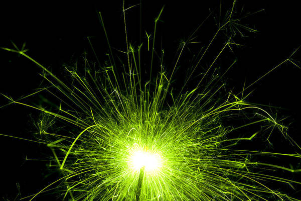 Sparks Wall Art - Photograph - Green Sparkle by Samuel Whitton