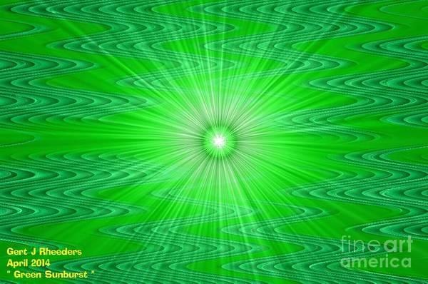 Special Offer Painting - Green Sunburst H A by Gert J Rheeders