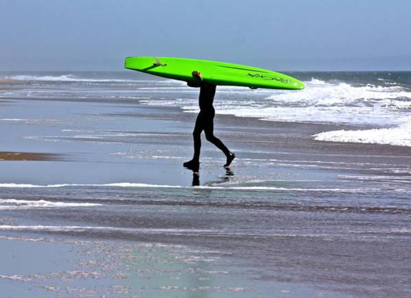 Green Surfboard Art Print