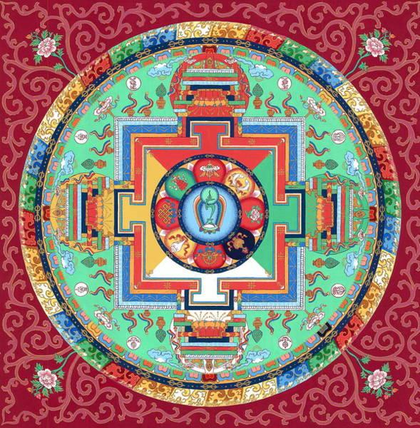 Tara Painting - Green Tara Mandala Thangka by Ies Walker
