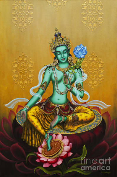 Om Wall Art - Painting - Green Tara by Yuliya Glavnaya
