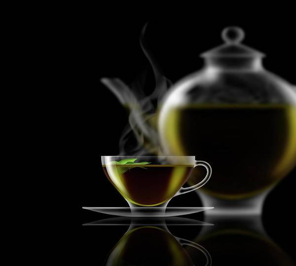 Wall Art - Photograph - Green Tea, Glass Teacup, Saucer by Ikon Ikon Images