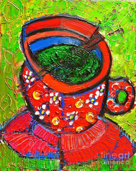Wall Art - Painting - Green Tea In Red Cup by Ana Maria Edulescu