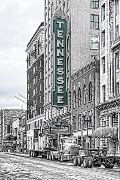 Photograph - Green Tennessee Theatre Marquee by Sharon Popek