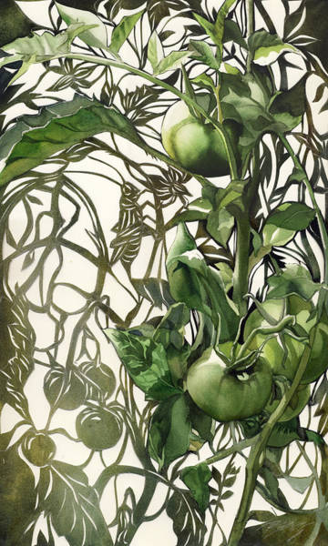 Painting - Green Tomatos With Grasshopper by Alfred Ng