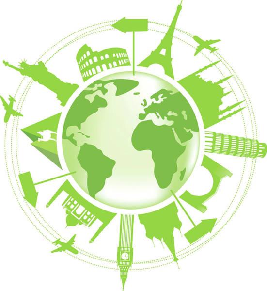 Mosque Digital Art - Green Travel Symbol by Halepak