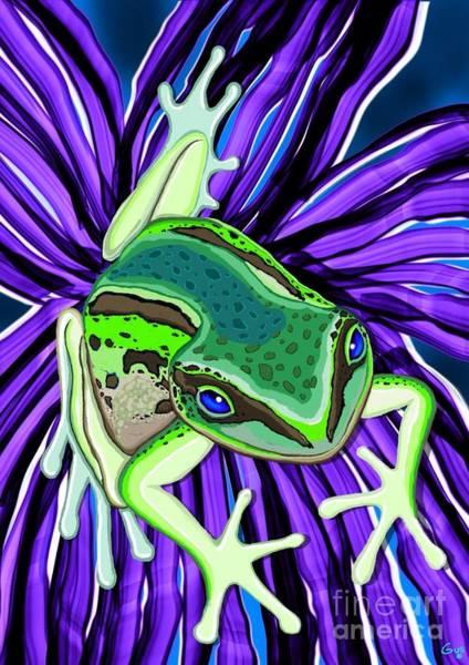 Wall Art - Painting - Green Tree Frog On Purple Flower by Nick Gustafson