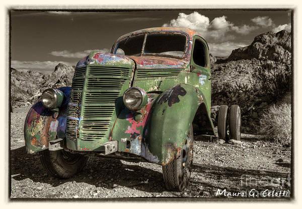 Pyrography - Green Truck by Mauro Celotti