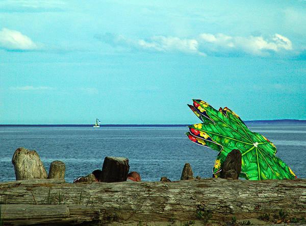 Vancouver Mixed Media - Green Umbrella by Janet Ashworth