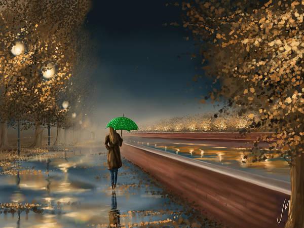 Night Walk Painting - Green Umbrella by Veronica Minozzi