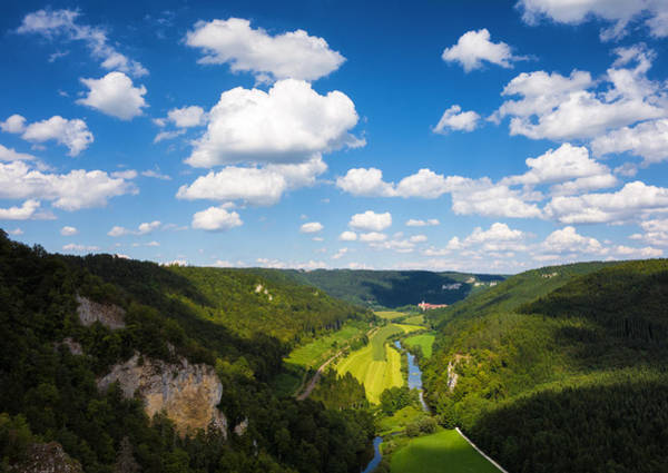 Donau Photograph - Green Valley And Blue Sky With White Clouds by Matthias Hauser