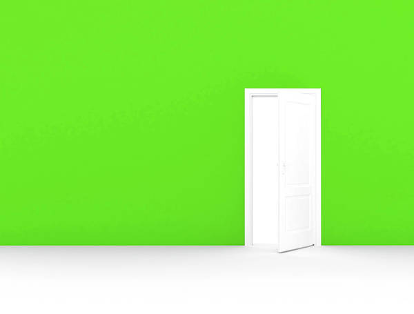 Wall Art - Photograph - Green Wall With Open Door by Jesper Klausen / Science Photo Library