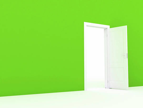 Wall Art - Photograph - Green Wall With White Open Door by Jesper Klausen / Science Photo Library