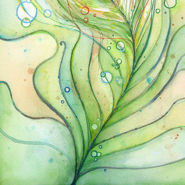 Wall Art - Painting - Green Watercolor Bubbles by Olga Shvartsur