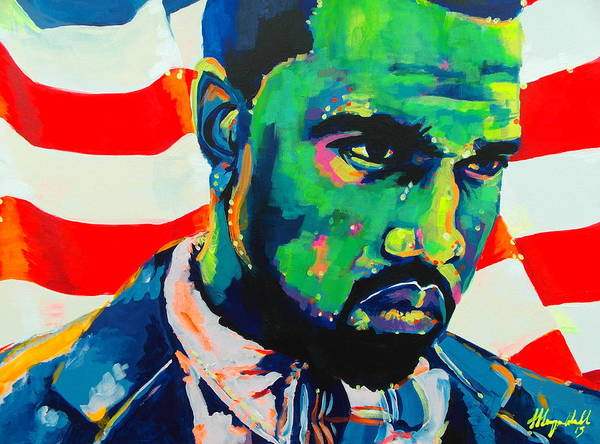 Wall Art - Painting - Green With Envy Yeezus by Miss Anna Hall
