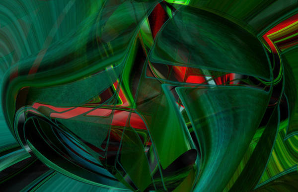 Digital Art - Green With Red Abstract by Roy Erickson