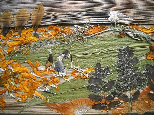 Eco Friendly Mixed Media - Greenery With Orange Field by Basant Soni