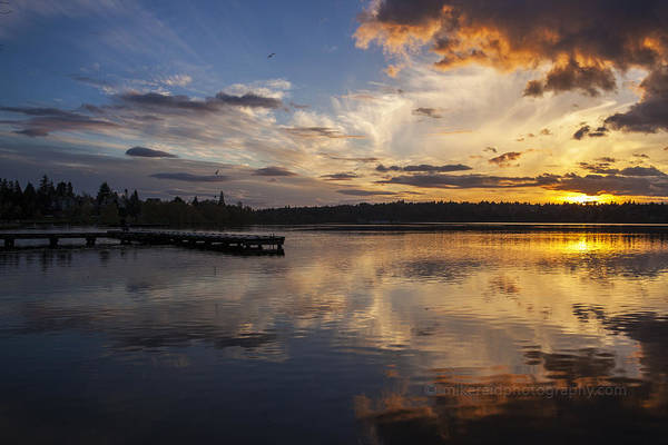 Father Sky Wall Art - Photograph - Greenlake Skies Afire by Mike Reid