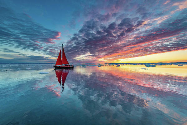 Sail Boat Photograph - Greenland Fire Sky by Marc Pelissier