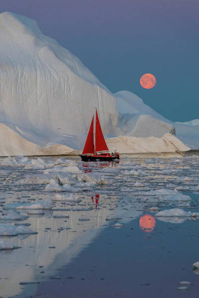Sail Boat Photograph - Greenland Night by Marc Pelissier