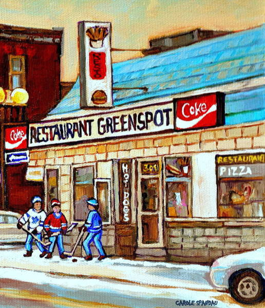 Painting - Greenspot Restaurant Notre Dame Street  South West Montreal Paintings Winter Hockey Scenes St. Henri by Carole Spandau