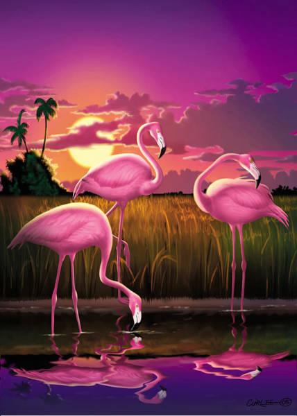 East Africa Digital Art - Greeting Card 3 Flamingoes Tropical Sunset Landscape  by Walt Curlee