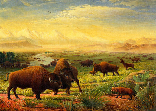 Alabama Painting - Greeting Card Buffalo On The Plains by Walt Curlee