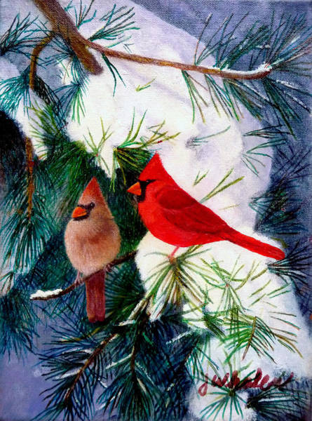 Greeting Cardinals Art Print