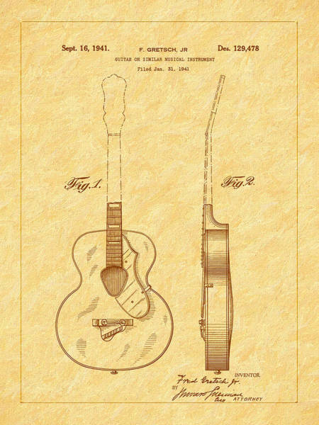 Photograph - Gretch Guitar 1941 Patent by Barry Jones