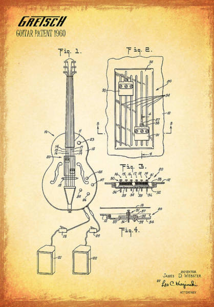 Wall Art - Photograph - Gretch Guitar Patent 1960 by Mark Rogan