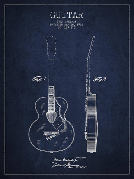 Wall Art - Digital Art - Gretsch Guitar Patent Drawing From 1941 - Blue by Aged Pixel