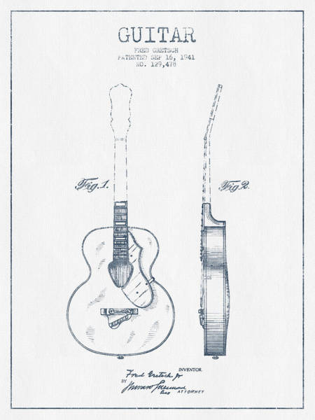 Wall Art - Digital Art - Gretsch Guitar Patent Drawing From 1941 - Blue Ink by Aged Pixel
