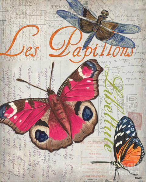 Dragonflies Wall Art - Painting - Grey Postcard Butterflies 1 by Debbie DeWitt