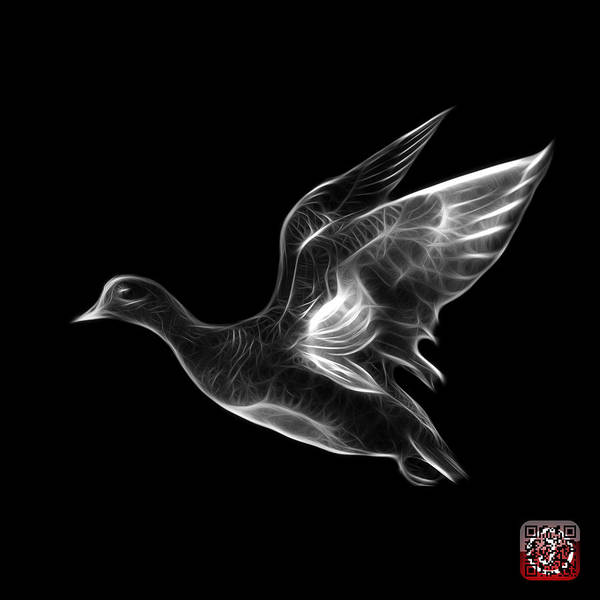 Mixed Media - Greyscale American Wigeon - 7675 F - Bb by James Ahn