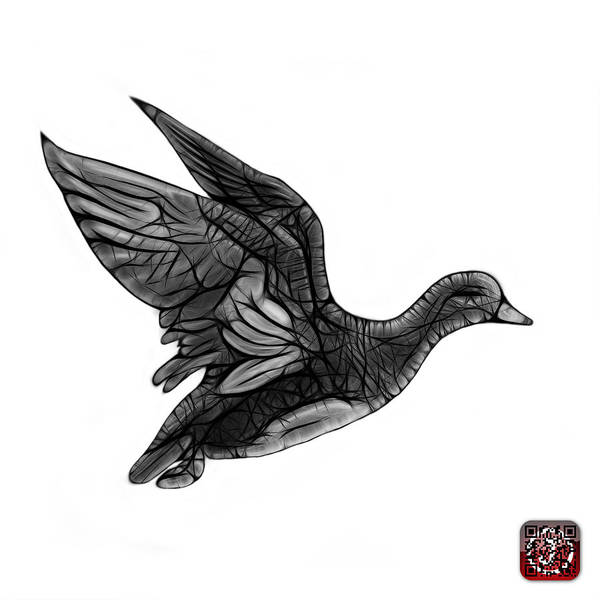 Mixed Media - Greyscale American Wigeon - 7675 F - Wb by James Ahn