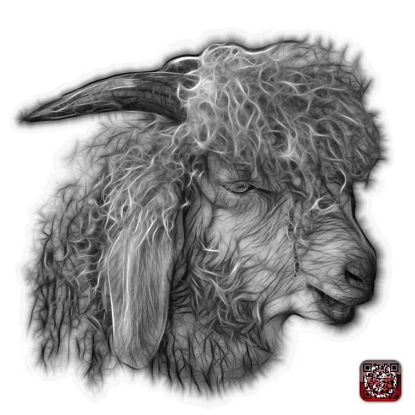 Digital Art - Greyscale Angora Goat - 0073 Fs by James Ahn